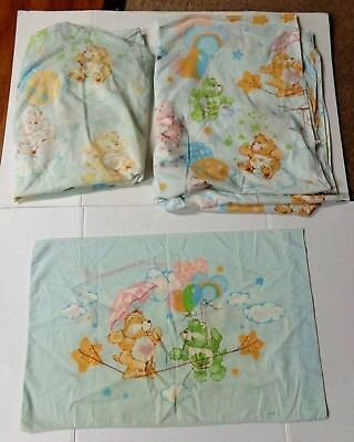 Vintage Care Bears Twin Fitted Flat Sheet & Pillowcase Lot Set of 3
