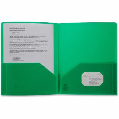 Business Source Poly Portfolio 2 Pocket LTR .3mil Green 20882