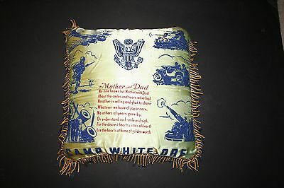 Vintage WWII US Army Silk Pillow Camp White Oregon Mother and Dad EXC!