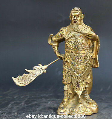 "8.3""Chinese Bronze Gild Ancient Guan Gong Yu Warrior God Hold Knife Sword Statue"
