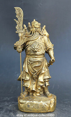 "10.6"" Chinese Bronze Ancient Guan Gong Yu Warrior God Knife Sword Wealth Statue"