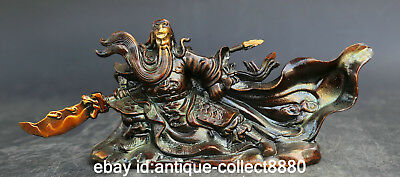 """10.6""""Collect Chinese Bronze Ancient Guan Gong Yu Warrior God Knife Sword Statue"""