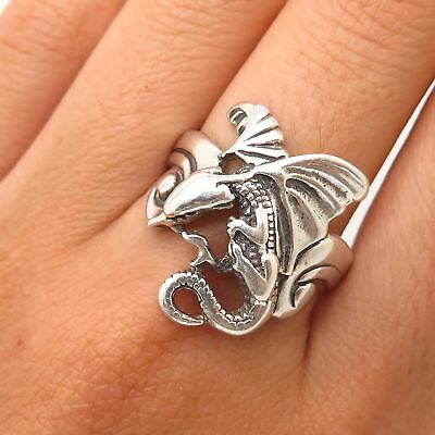 Shube 925 Sterling Silver Mythical Dragon Design Ring Size 10
