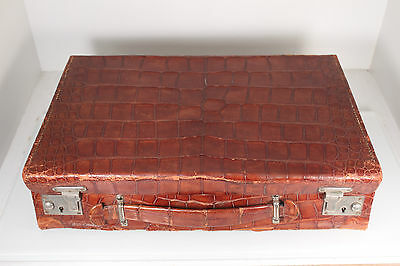 English Gents Alligator Traveling Case Grooming Set Mappin Webb Sterling Silver