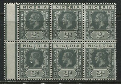 Nigeria KGV 1914 2d gray in a mint o.g. block of 6