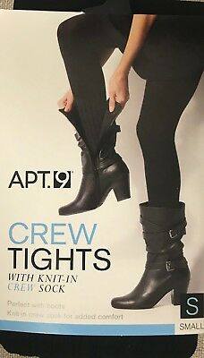 NWT Apt 9 Crew Boot Tights With Knit-in Crew Sock Small Black