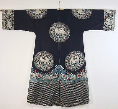 FINE + UNUSUAL ANTIQUE CHINESE DARK BLUE GAUZE SILK ROBE TEXTILE w ROUNDELS