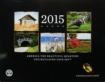 2015 P and D US Mint America the Beautiful Uncirculated 10 Coin Quarter Set NICE