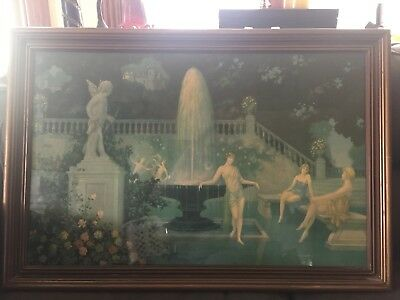 Antique Art Deco Framed Large Print Ladies Dancing in Garden Fountain and Castle