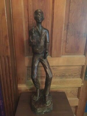 Vintage Large Wooden Carved Figure Of Man Holding Chicken 32 Inches Tall