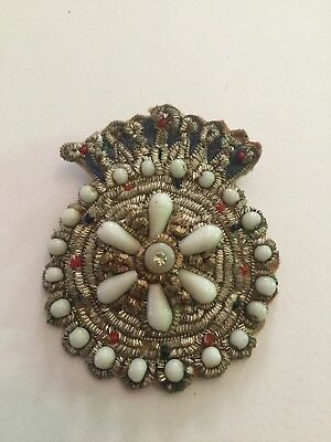Vintage Ornate Hand Embroidered Applique Metal Thread & Beads Made In India