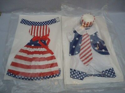 """2 NIP 4th of July Ensemble Patriotic Clothes Outfit 20-22"""" Girl Boy Doll Bear"""
