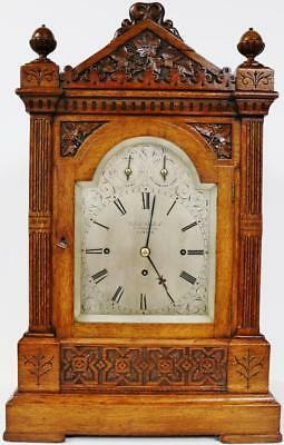 Antique English Carved Oak Triple Fusee 8 Bell & 5 Gong Musical Bracket Clock