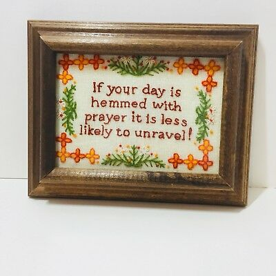 """If Your Day... Finished & Framed Crewel Embroidery Prayer 7.5"""" x 9.5"""""""