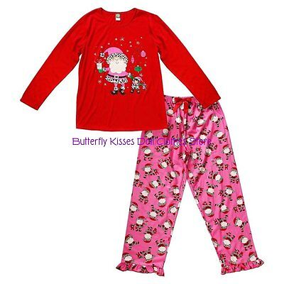 SZ 8-10 Dollie Me Santa Pajamas+Matching 18 in Doll Clothes Fits American Girl