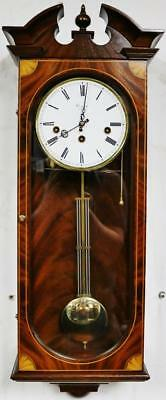 Vintage Comitti Inlaid Mahogany & Glass Musical Westminster Chime Wall Clock