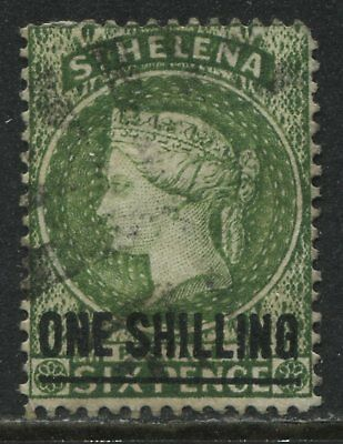 St. Helena QV 1894 1/ on 6d yellow green used