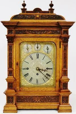 Antique English Carved Walnut Triple Fusee Musical 8 Bell & 5 Gong Bracket Clock