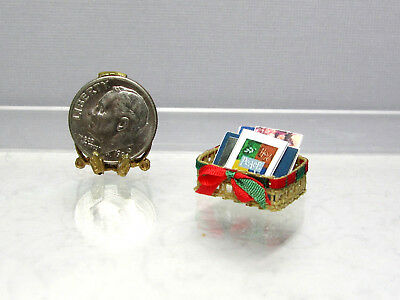 Dollhouse Miniature Basket of Christmas Cards #4 by All Through The House
