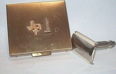 Vintage Gillette Razor in Brass Case. Texas Icons on Cover