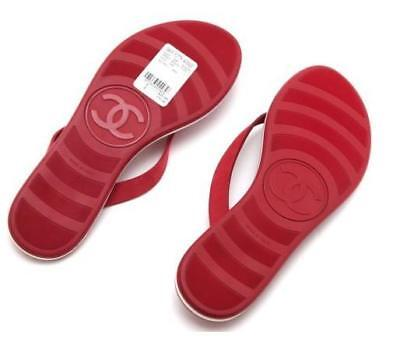 467e5aaccb9a CHANEL Red Leather Thong Sandal Flip Flop Quilted Rubber Silver CC 38 NEW  7.5 8