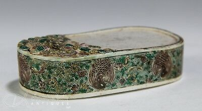 Rare Antique Chinese Famille Verte Porcelain Ink Stone With Dragon