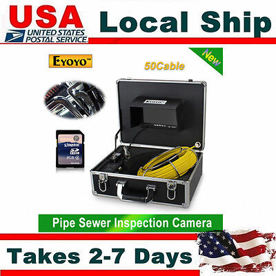 "50M Sewer Pipe Pipeline Drain Inspection 7"" LCD Video Recording Camera 8GB DVR"
