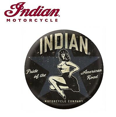 Genuine Indian Motorcycle Circle Bomber Girl Metal Sign Bar Man Cave New
