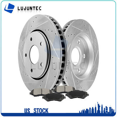 Front Brake Rotors Discs Ceramic PadS For 2012-2015 Chrysler Town & Country Ram