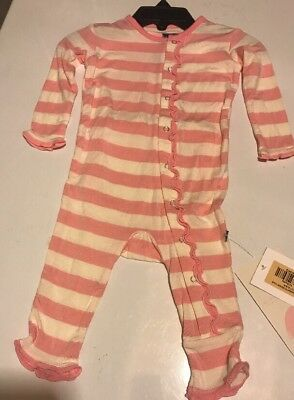 Kickee Pants Essentials Classic Ruffle Coverall Lotus Stripe 3-6 M New Fit