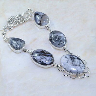 "Handmade Dendritic Tree Natural Agate 925 Sterling Silver Necklace 19"" #AA990"
