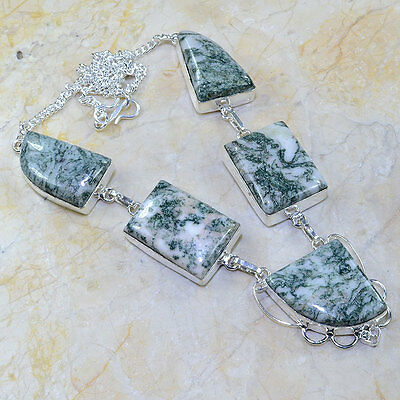 "Handmade Dendritic Tree Agate 925 Sterling Silver Necklace 18"" #X66829"