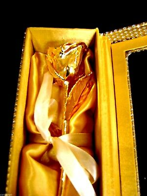 "ANNIVERSARY GIFT 24 Gold Dipped 11"" Real Rose in Gold Egyptian Casket Design Box"