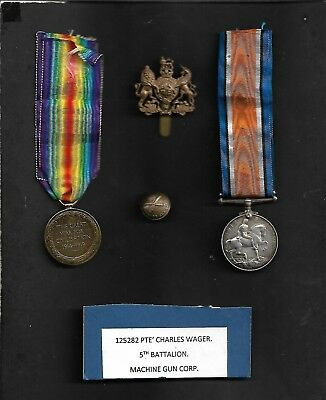 MILITARY MEDALS: WW1 BRITISH MEDAL SET ALL NAMED TO 125282 PTE C WAGER, 5th BATT