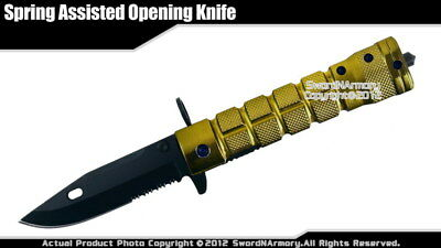Spring Assisted Opening Tactical Knife Serrated Drop Point w/ Glass Breaker GN