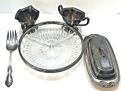 Wm. Rogers 6 Piece Silver & Silver Plate Mixed Lot 6 Serving Pieces Vintage