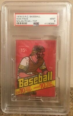 Unopened, 1978 O.P.C. Baseball, 15 cent Wax Pack! PSA Mint 9, with Ryan on top