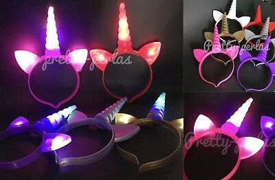 USA Magical Unicorn Horn HeadBand Party Kids Hair Head Lightup Dress Cosplay 6PC
