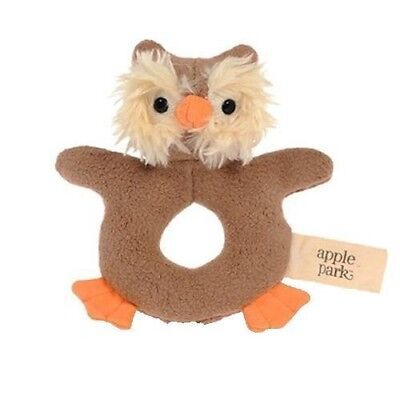 Baby Teething Rattle Organic Toy by Apple Park Toys Safe Teether Non Toxic Owl