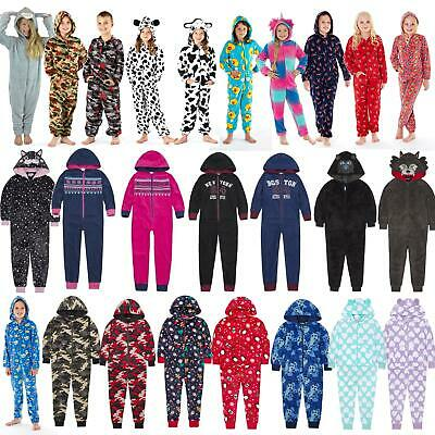 Girls/Boys Childrens Fleece All In One Hood/Kids Pyjamas Costume Age 2-13 Years