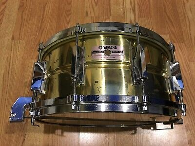 """Vintage 1987 YAMAHA SD416 - 14"""" x 6.5"""" Seamless Brass Snare Drum - 8 Cable Wires"""