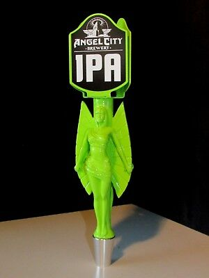 NEW Green Angel City Brewing India Pale Ale Beer Tap Handle Craft Tall Man Cave