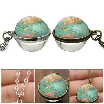 Women Necklace Retro World Map Double-Sided Glass Ball Pendant Time Gem Necklace