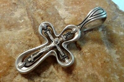 """VINTAGE STERLING SILVER """"925"""" ORTHODOX OPENWORK CRUCIFIX with WORDS of PRAYER"""