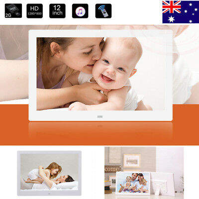 Electronic 12'' LED HD Digital Photo White Frame Picture MP3/MP4 Movie Player AU