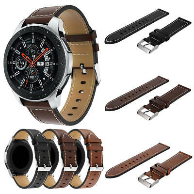 Soft Leather Watch Strap Replacement Wrist Band for Samsung Galaxy Watch 46mm