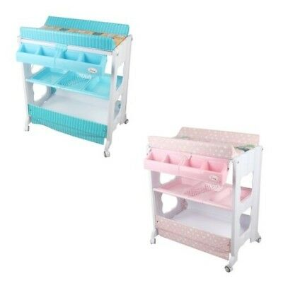 FoxHunter Baby Bath Changing Table Dresser Unit Rail Infant Nursery Trays BCT02
