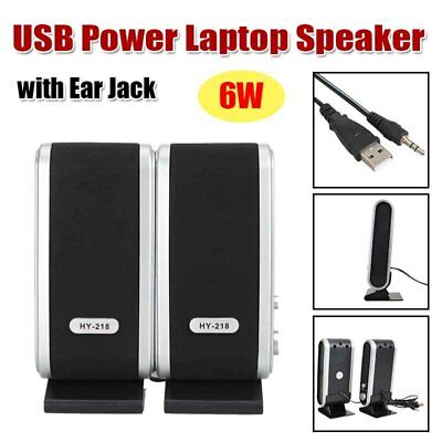 Pair Wired USB Power Speakers Stereo Audio Ear Jack for PC Laptop Computer MAC