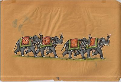 Indian Elephants Handmade Wall Hanging Miniature Paper Painting Ethnic Painting