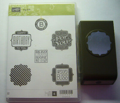 Stampin Up Tag Talk rare retired stamp set with matching punch as new condition